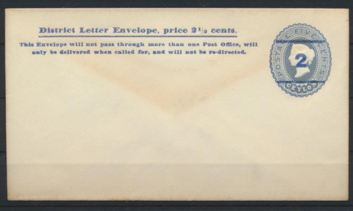 Sri Lanka Ceylon Ganzsache Umschlag 28 Aushilfsausgabe Aufdruck 2 a. 5c hellblau