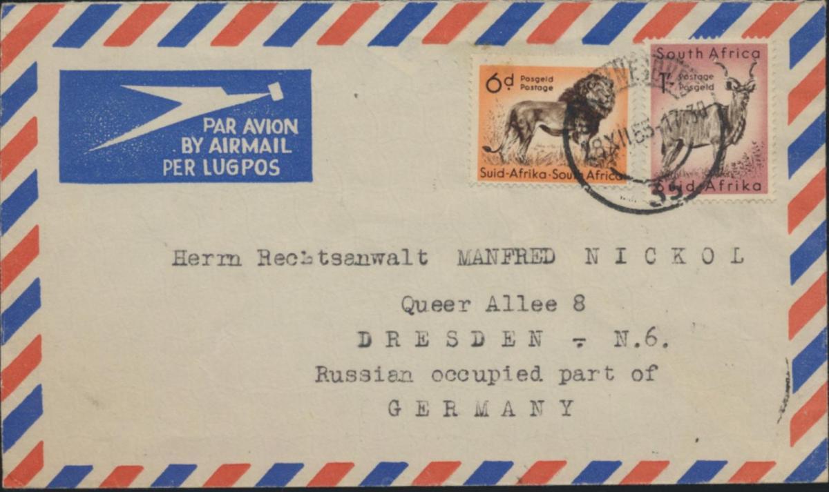 Brief Südafrika Luftpost MIF 246+247 Johannesburg nach Dresden Tiere Löwen Gnu