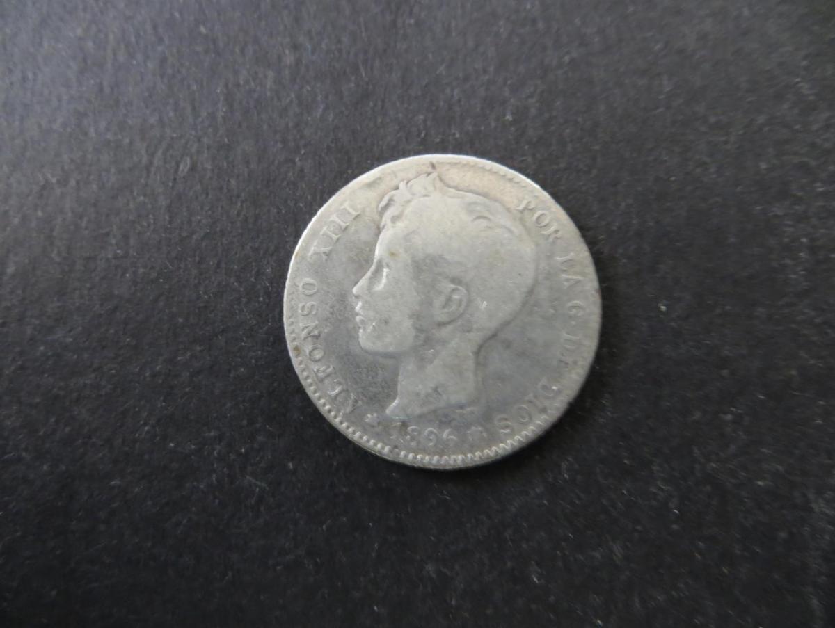 Münze Spanien Alfonso XIII 1 Peseta 1896 Silber ss Schön: 2