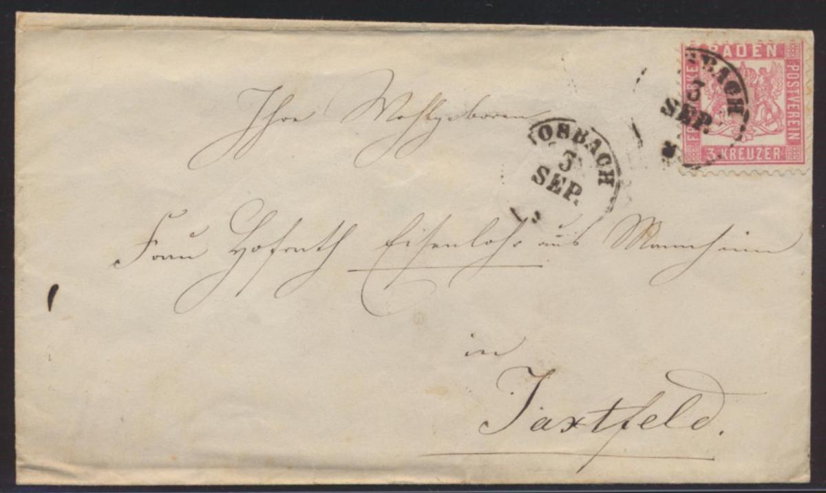 Altdeutschland Brief Baden EF 18 K 1 nach Jaxtfeld
