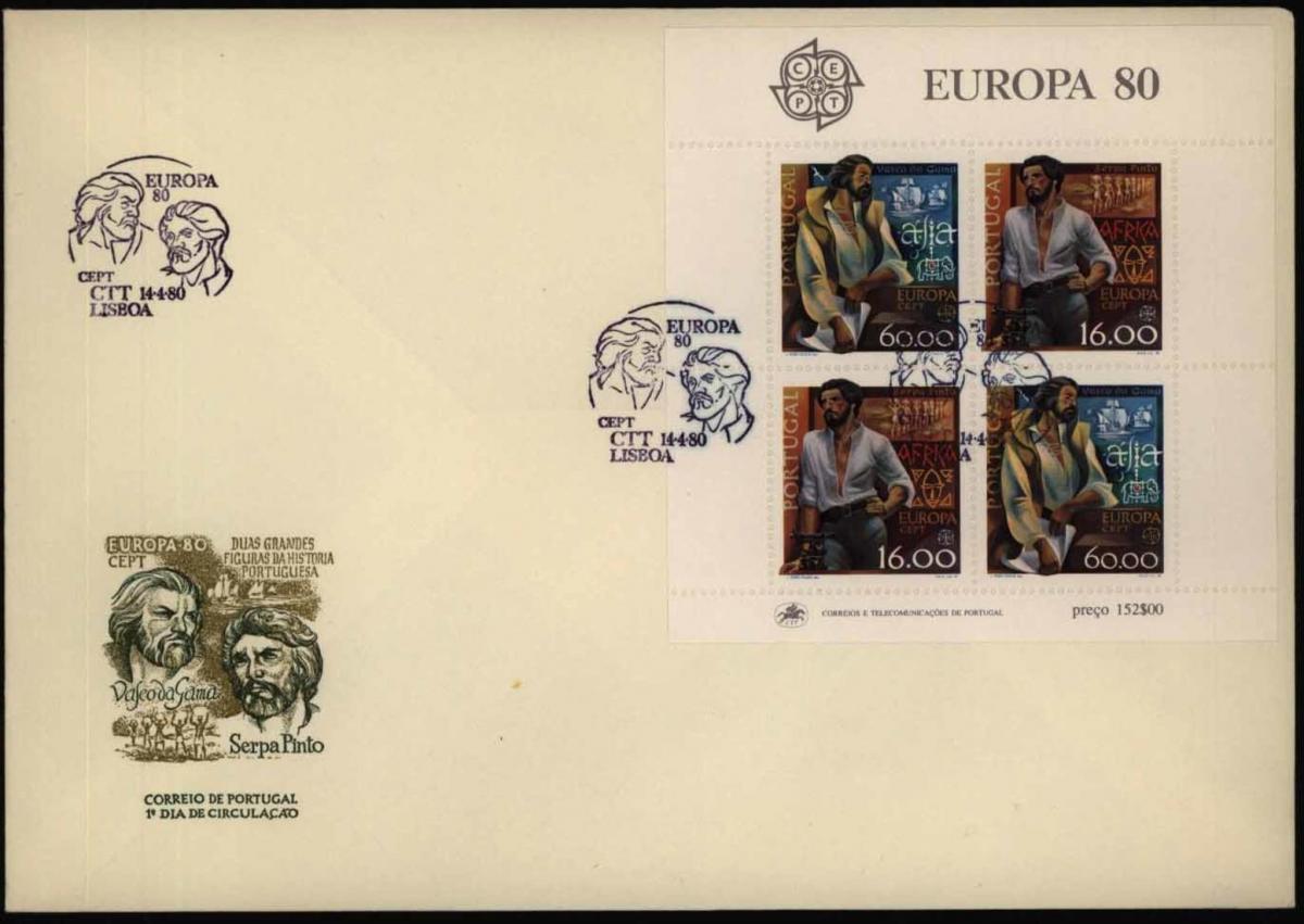 Portugal Block 29 Europa CEPT Bedeutende Persönlichkeiten 1980 auf FDC Ersttag