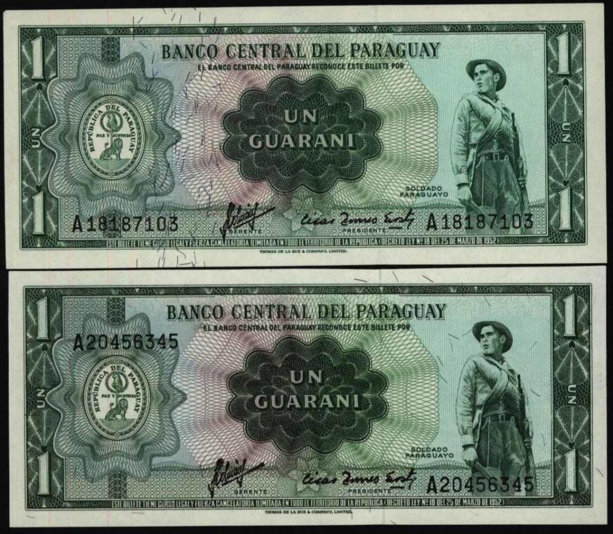 Geldschein Credit Note Banknote Paraguay 1 Guarani 192-3 a 1952 - I.