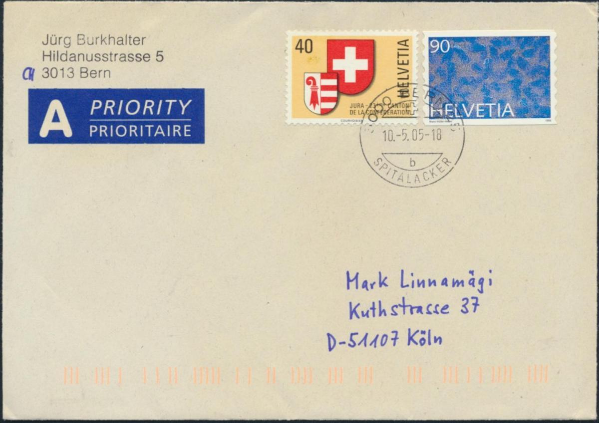 Schweiz Brief Eilbrief MIF 1141+1590 Bern nach Köln 10.5.2005