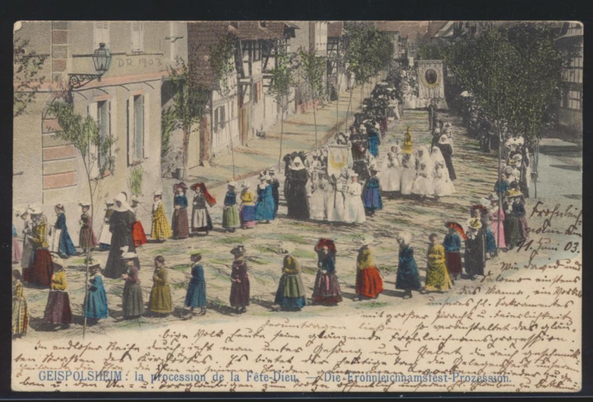 Ansichtskarte Geispolsheim Fronleichnam Kirche Glaube procession n. Unkel Rhein