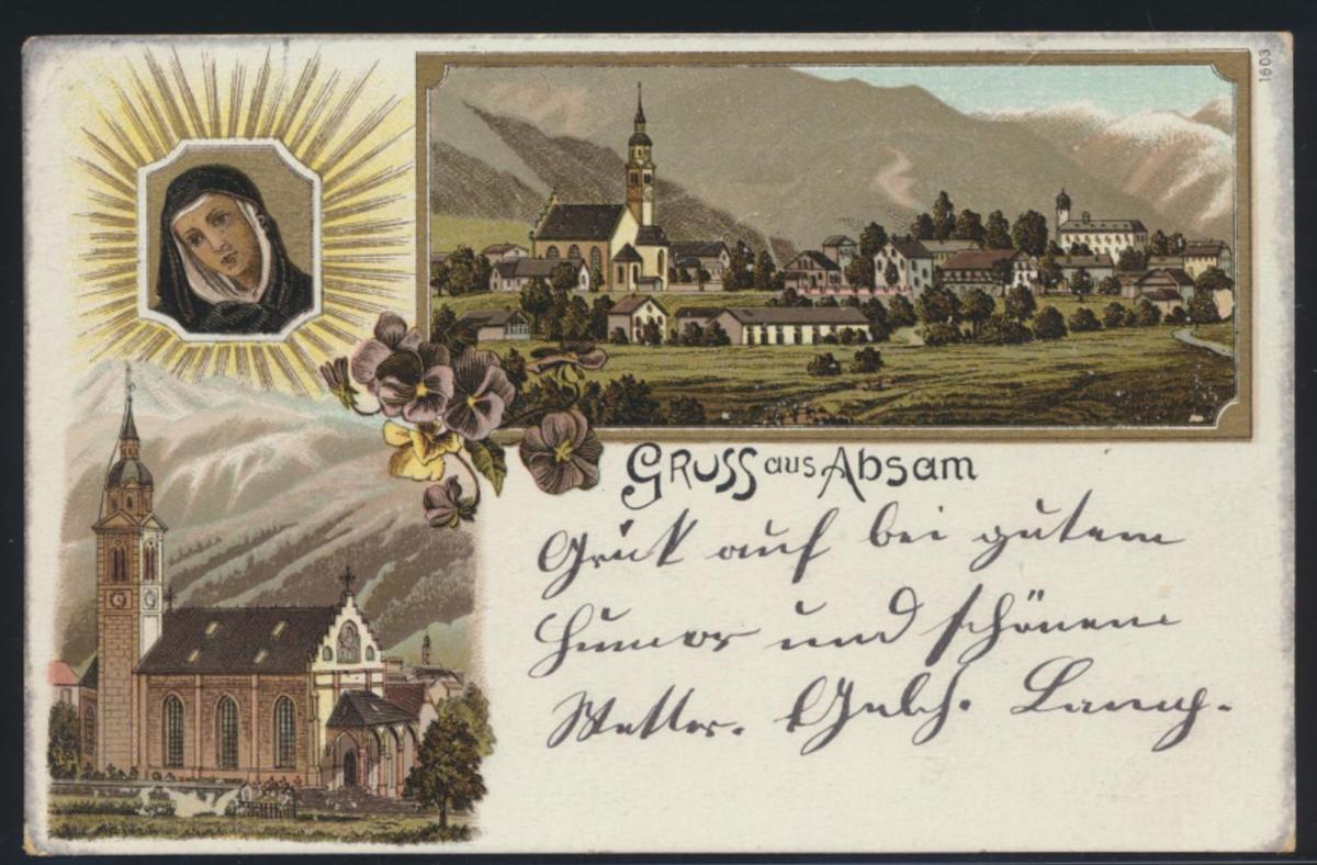 Ansichtskarte Absam Österreich Tirol Litho Kirche