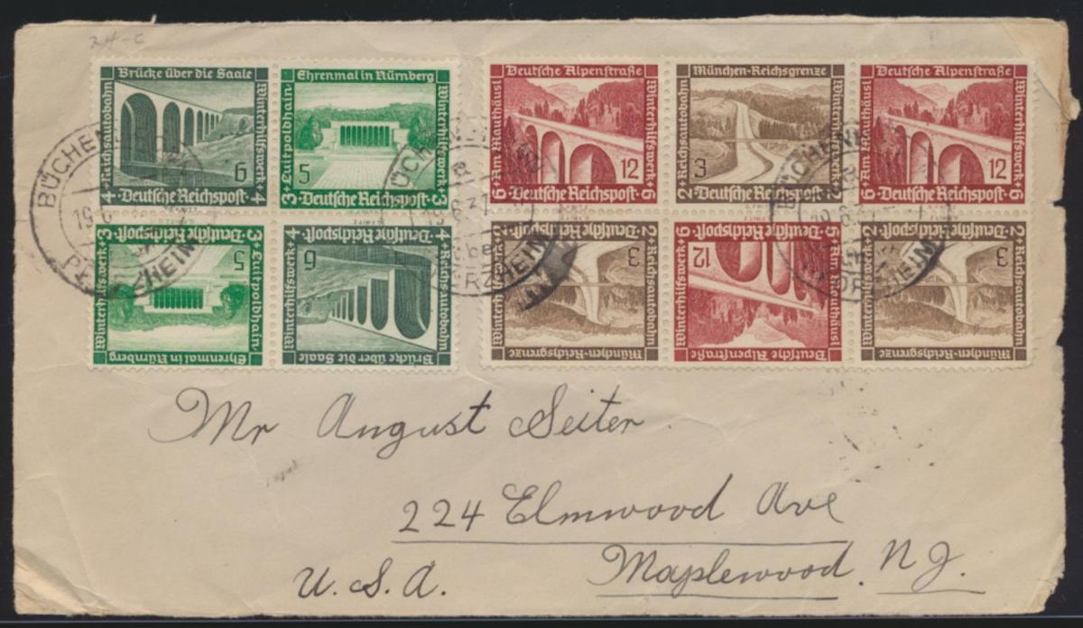 D. Reich Zusammendruck Briefvorderseite WHW Bauten 3x SK 30 + 2x SK 29 nach USA