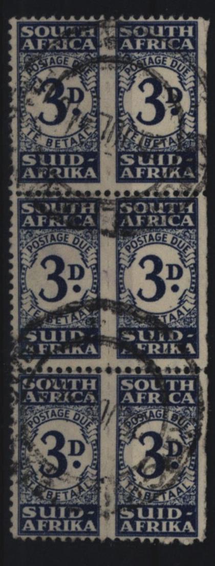 Südafrika Porto 33 Sechserblock 3 P schmales Hochrechteck gestempelt