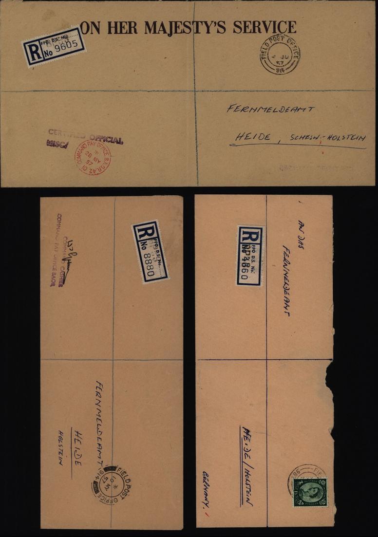 Großbritannien 3 Feldpost R - Briefe an Fernmeldeamt Heide Holstein R-Zettel mit 0