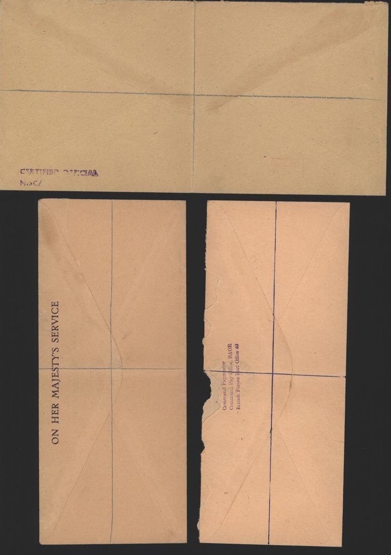 Großbritannien 3 Feldpost R - Briefe an Fernmeldeamt Heide Holstein R-Zettel mit 1