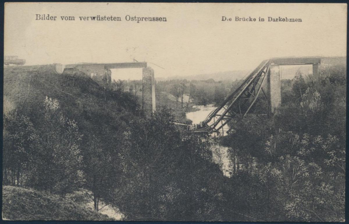 Ansichtskarte Darkebmen Osjorsk Ostpreussen Brücke Feldpost Insterburg Neuköln 0