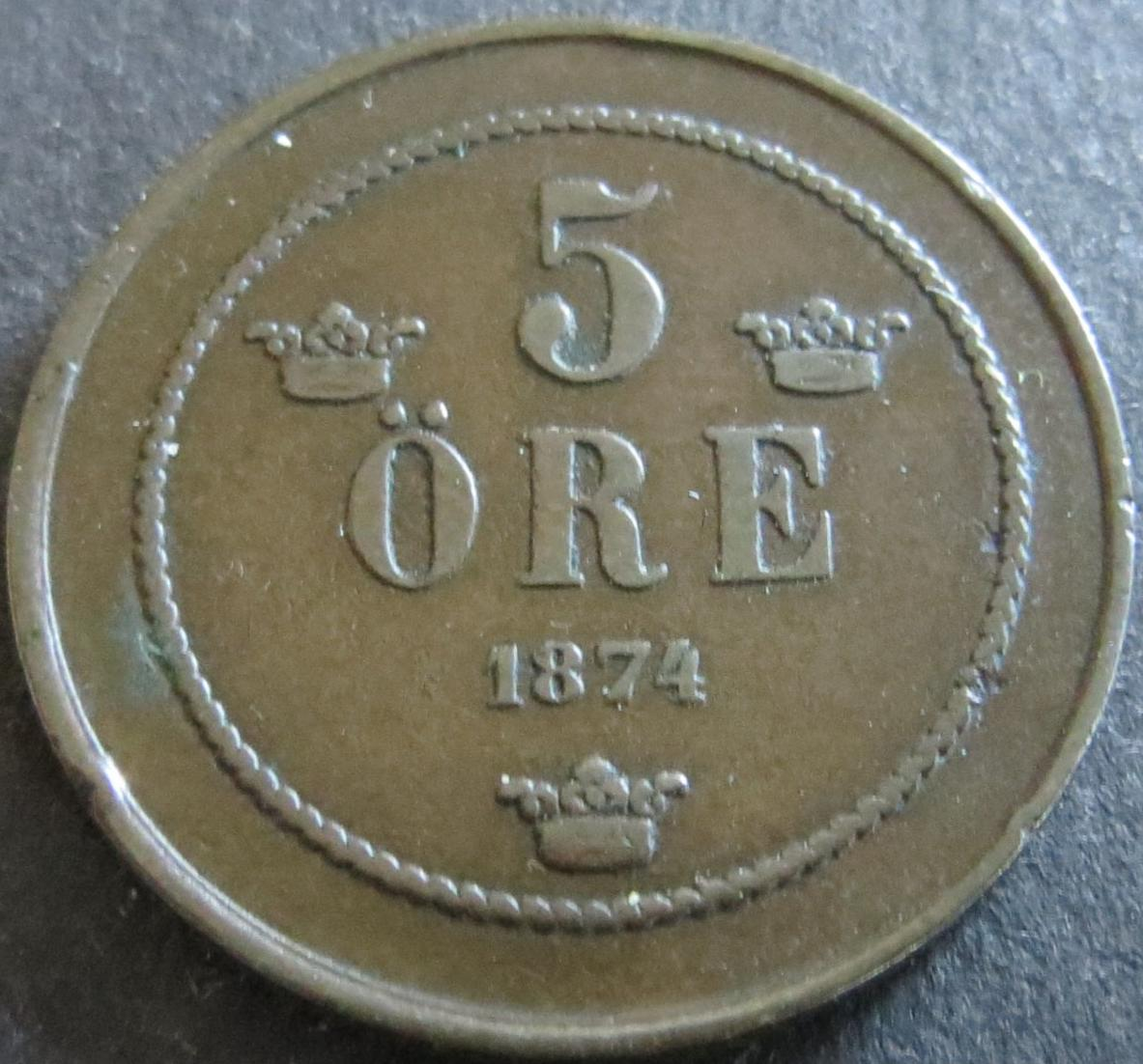 Münze Schweden 1874 - 5 Öre Oskar II. Bekröntes Monogramm 27mm Kupfer vz
