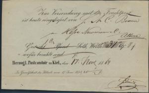 Altdeutschland Schleswig-Holstein Posteinlieferungsschein Postcomtoir Kiel 1864