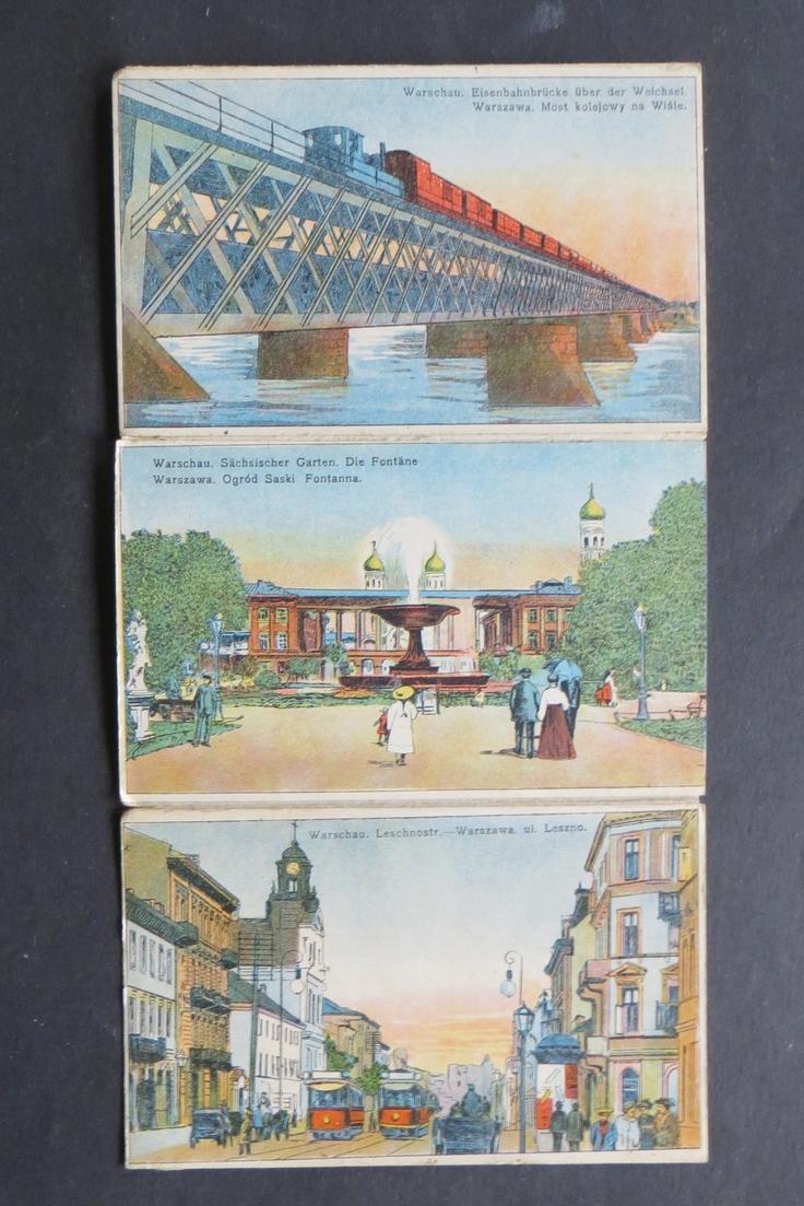 Ansichtskarte Polen Warschau Warszawa selt. Künstler Leporello handcoloriert