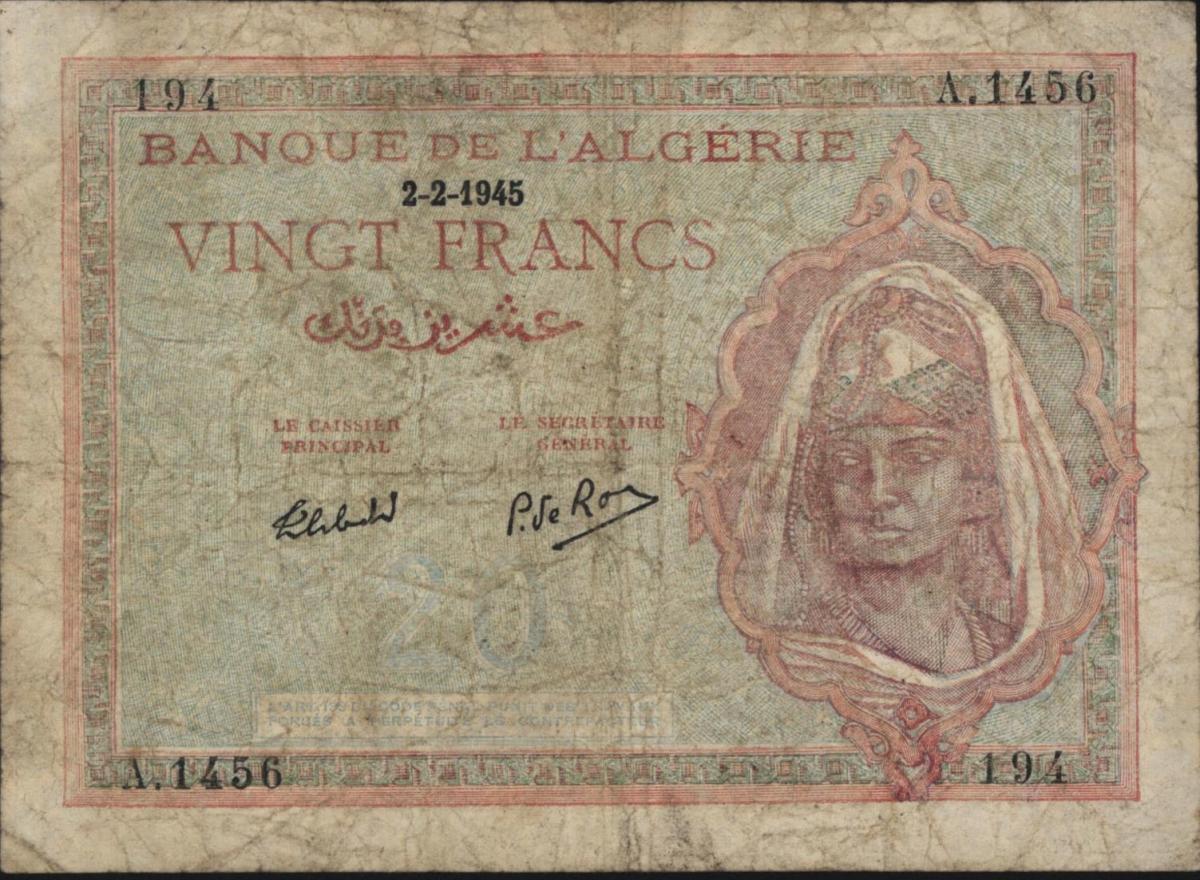 Geldschein Banknote Algerien franz. Kolonie III VF 92 b Vingt 20 Francs 2.2.1945