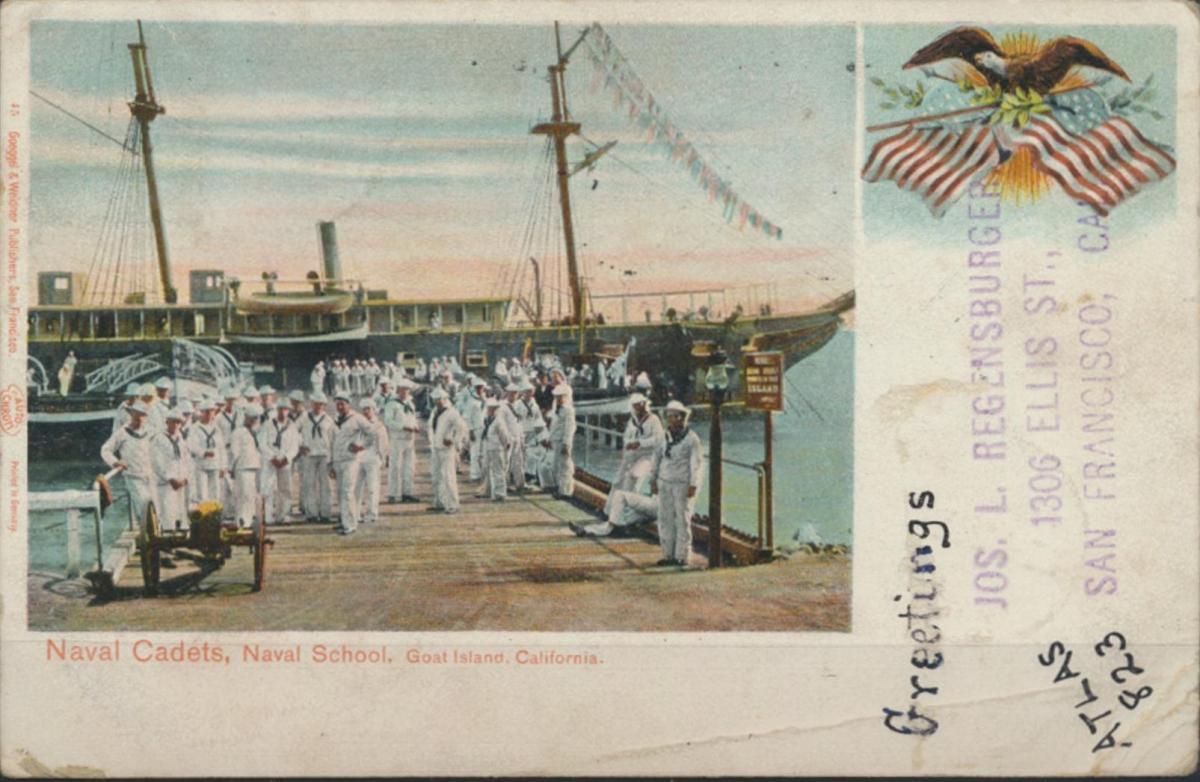 Ansichtskarte USA Seefahrt Marine Navy Naval School Cadets Goat Island Kaliforni