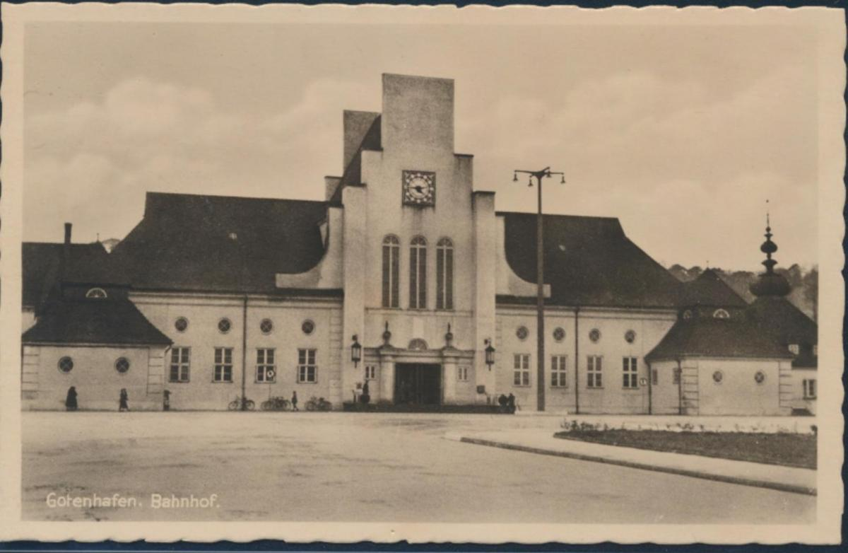 Ansichtskarte Foto Bahnhof Gotenhafen Gdynia Eisenbahn Pommern 0