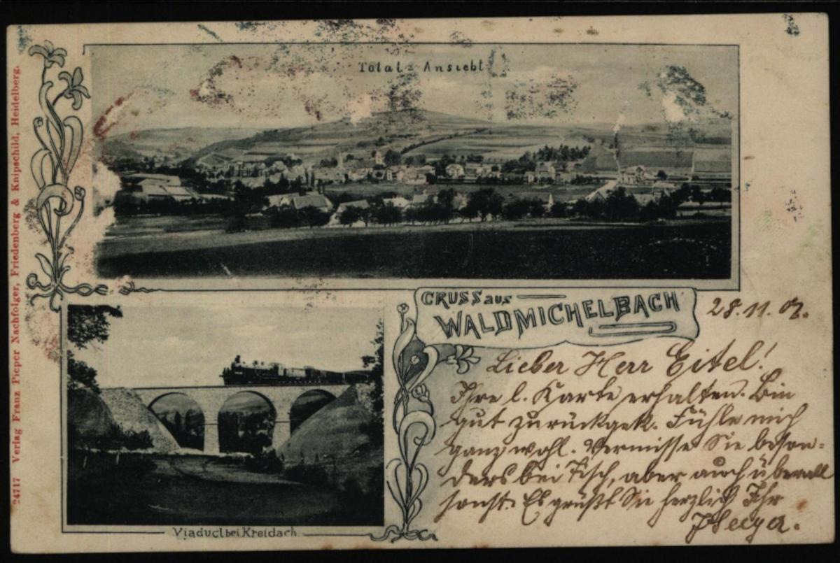 Ansichtskarte Waldmichelbach Odenwald Eisenbahn Brücke Viadukt Kreidach Tunnel 0