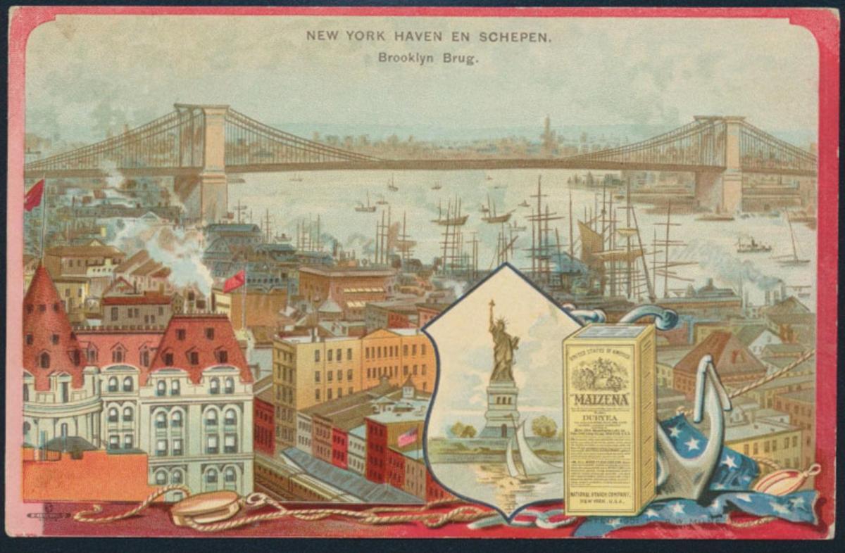 Ansichtskarte New York Jugendstil Maizena Reklame Werbung beidseitg bedruckt 0