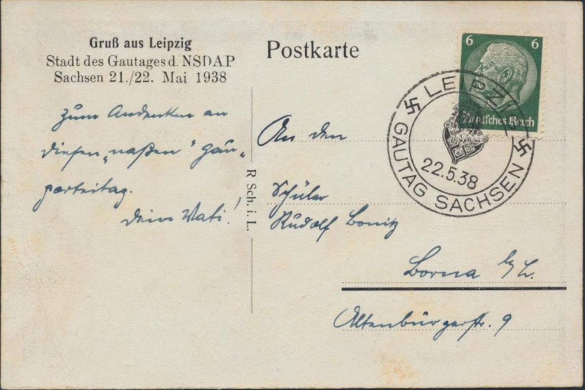 Dt Reich Ansichtskarte EF 516 Eindruck Gautag NSDAP Propaganda SST Leipzig Borna 0