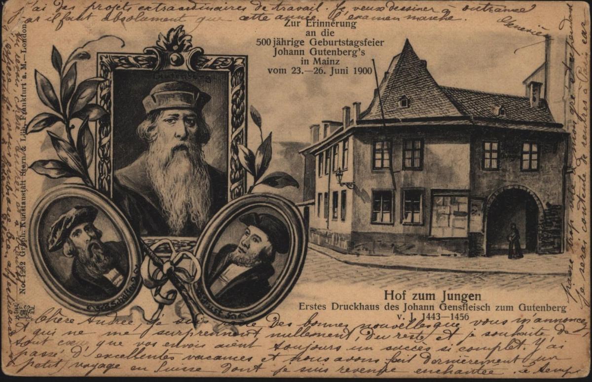 Top Ansichtskarte Gutenberg Mainz Kunstanstalt Stern & Löb Frankfurt London 0