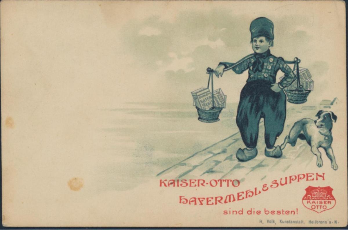 Ansichtskarte Reklame Kaiser Otto Hafermehl & Suppen Junge mit Hund am Hafen 0