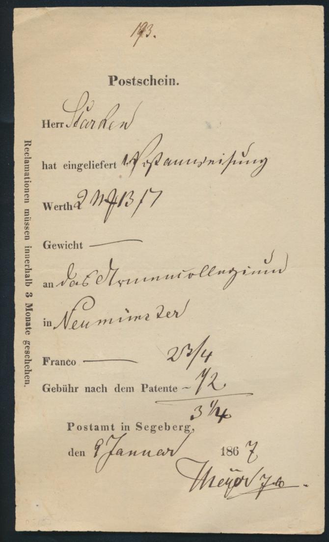 Schleswig Segeberg Postschein für eine Postanweisung nach Neumünster 9.1.1867
