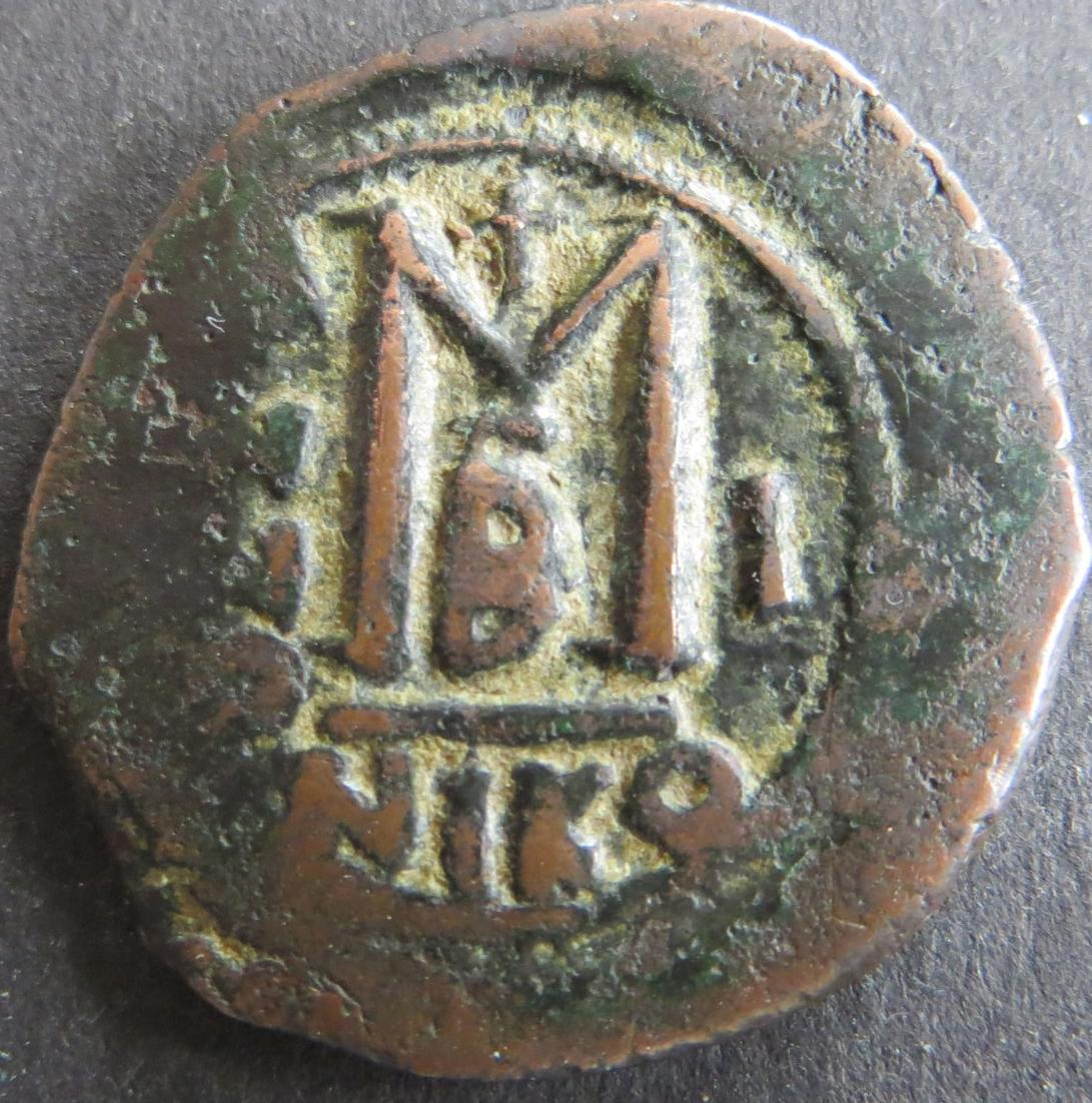 Byzantinische Münze Justinian I. Follis 547 Behelmte Büste s-ss