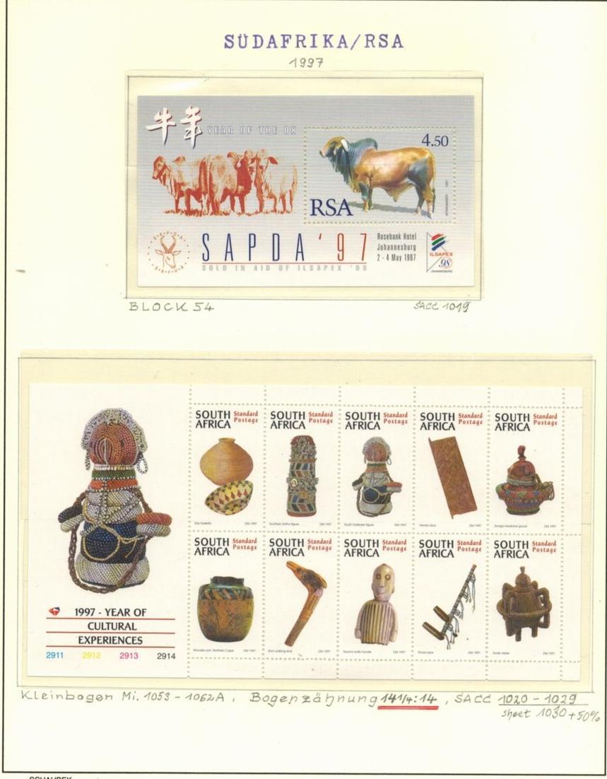 Südafrika 1053-1062, Kulturelles Erbe, Spezial-Lot Kleinbogen dazu Block 54.