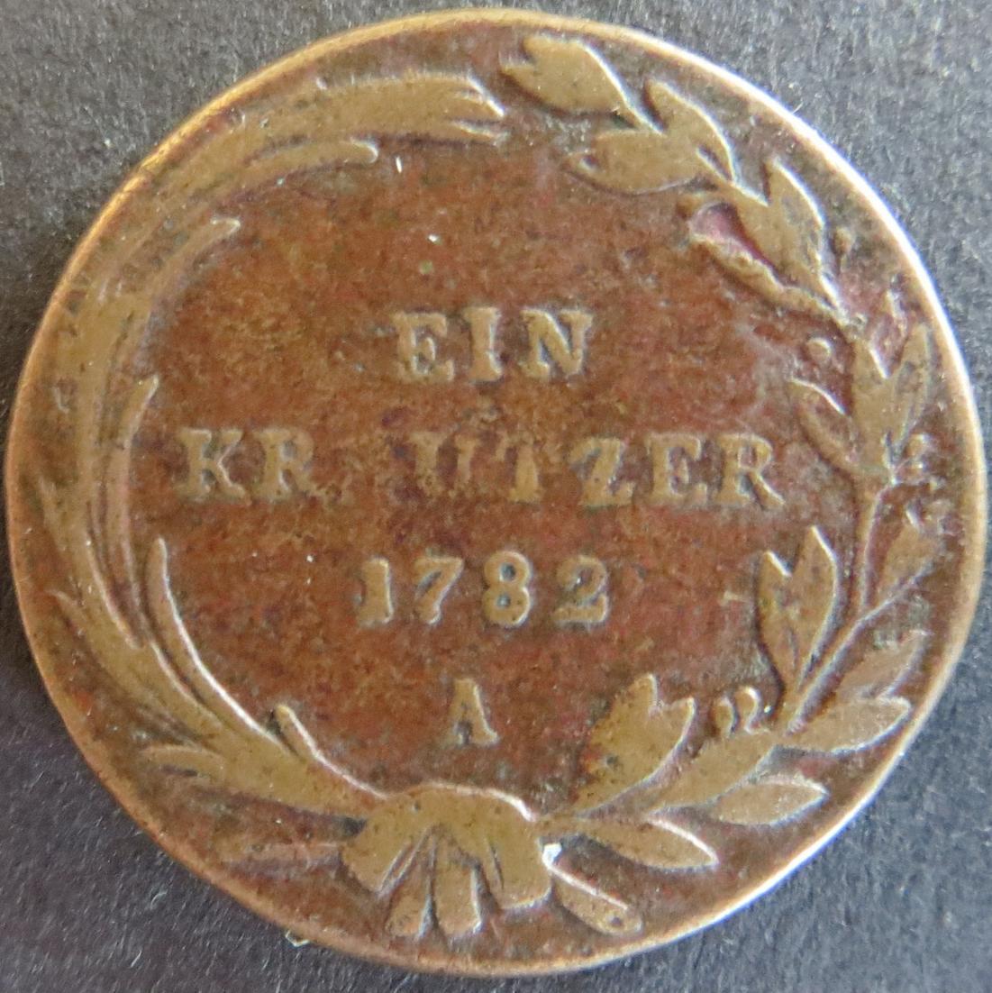 Münze Österreich-Ungarn 1782 - Ein Kreutzer Joseph II. Kupfer s-ss