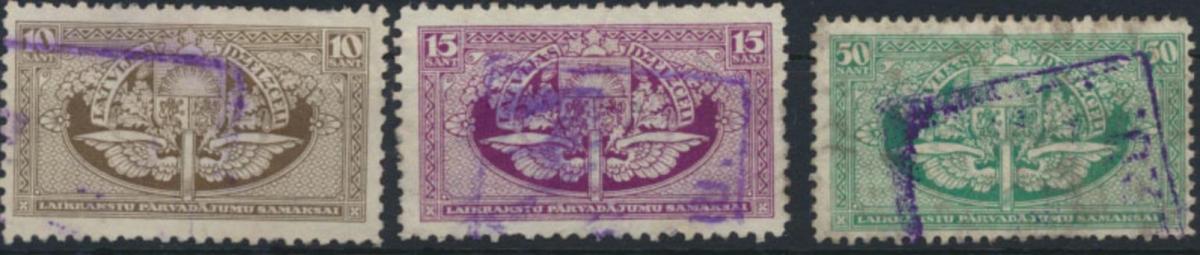 Lettland Eisenbahnmarken 1919 10-50 Sant gestempelt