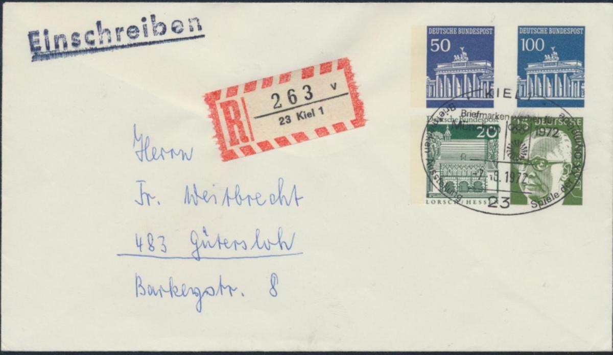 Bund Privatganzsache als R-Brief mit 4 WST Brandenburger Heinmann Bauten Kiel