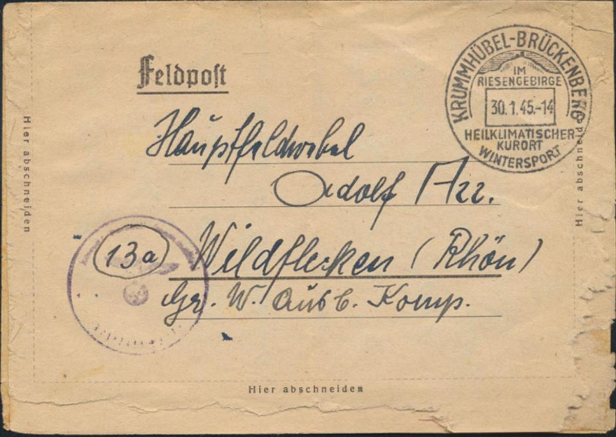 Dt. Reich Brief Feldpost SST Krummhübel Karpacz Schlesien Wildflecken 30.1.1945 0
