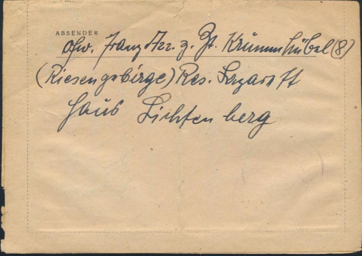Dt. Reich Brief Feldpost SST Krummhübel Karpacz Schlesien Wildflecken 30.1.1945 1