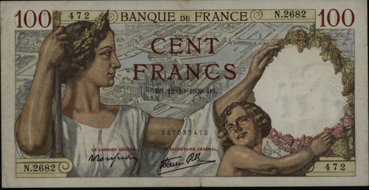 Geldschein Banknote Frankreich 100 Cent Francs 1939  II-III. EF-VF 94 0