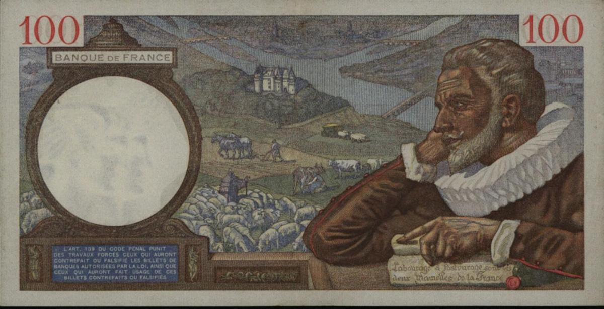 Geldschein Banknote Frankreich 100 Cent Francs 1939  II-III. EF-VF 94 1