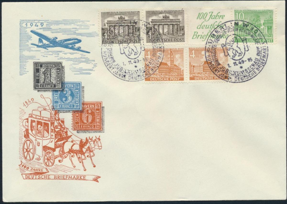 Berlin Brief Bauten Zusammendruck W 9 Flugpost 100 Jahre Briefmarke FDC 2x SST