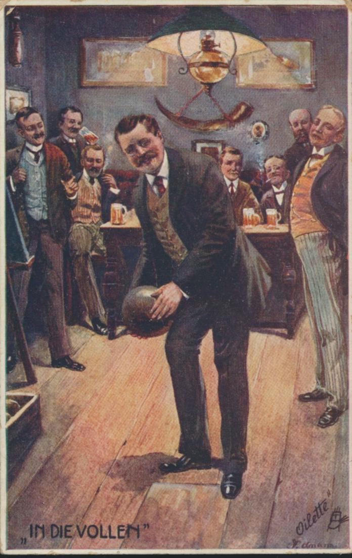 Ansichtskarte Kegeln Sport Oilette Künstler Schleiden Gevelsberg 1911 0
