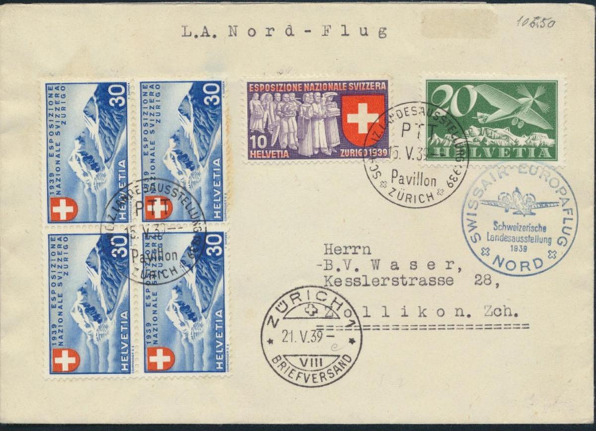 Schweiz Flugpost Brief Swissair Nordflug 213, 341 + 343 Viererblock