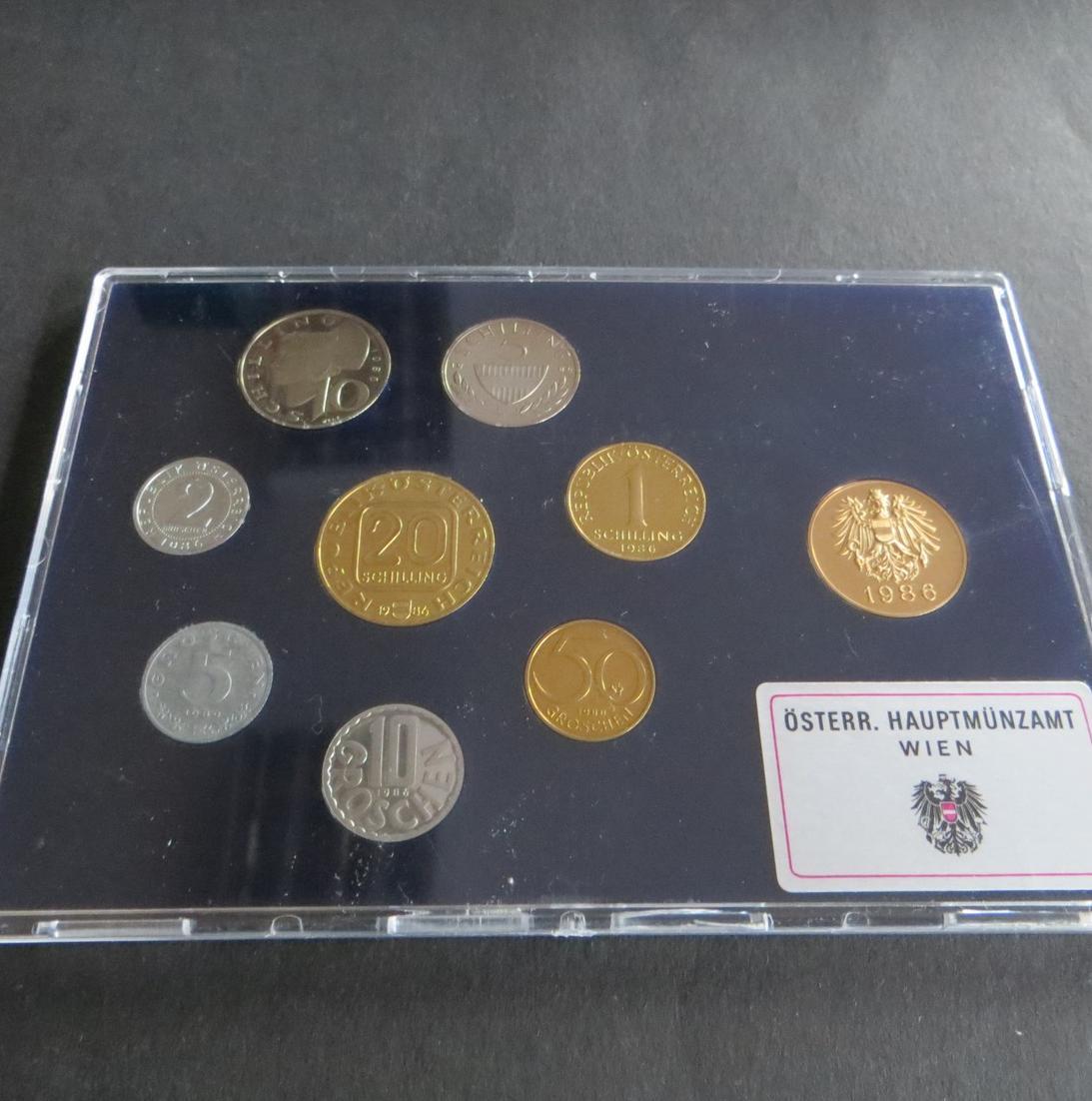 Österreich 1986 offizieller Kursmünzsatz Original-Bliesterpack PP