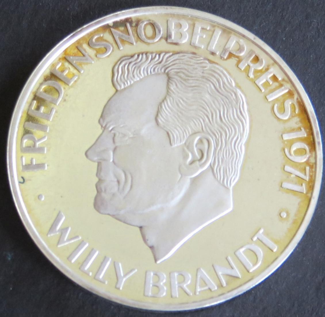 Medaille 1971 Willy Brandt Friedensnobelpreis 15g 1000er Feinsilber stgl