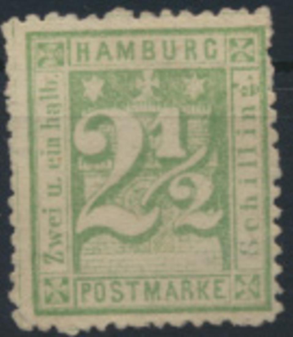 Hamburg 14 II ungebraucht - 2 1/2 S Freimarke bräunlichlila  kleine Mängel