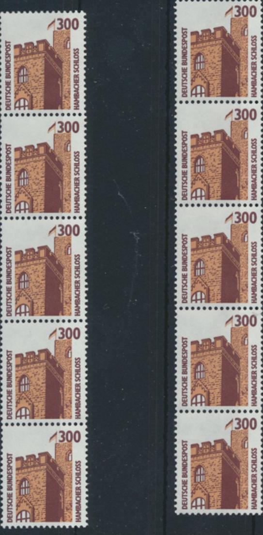 Bund 1348 R II 5er-Streifen - 300 Pf Hambacher Schloss SWK.