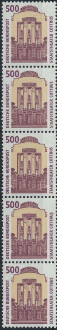 Bund 1679 R I 5er-Streifen - 500 Pf Staatstheater Cottbus SWK.
