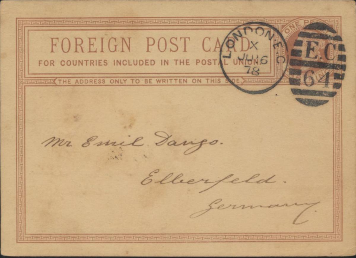 Großbritannien Ganzsache 1p Queen Victoria privater Zudruck F.W. Berk Duplex St.
