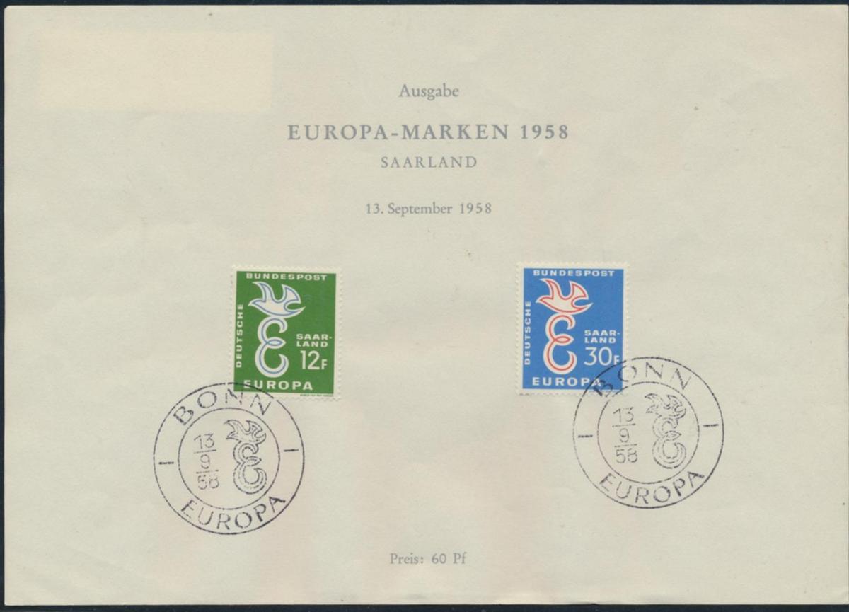 CEPT Amtliches Sonderblatt Bundespost Saarland 1958 Kat.-Wert 40,00