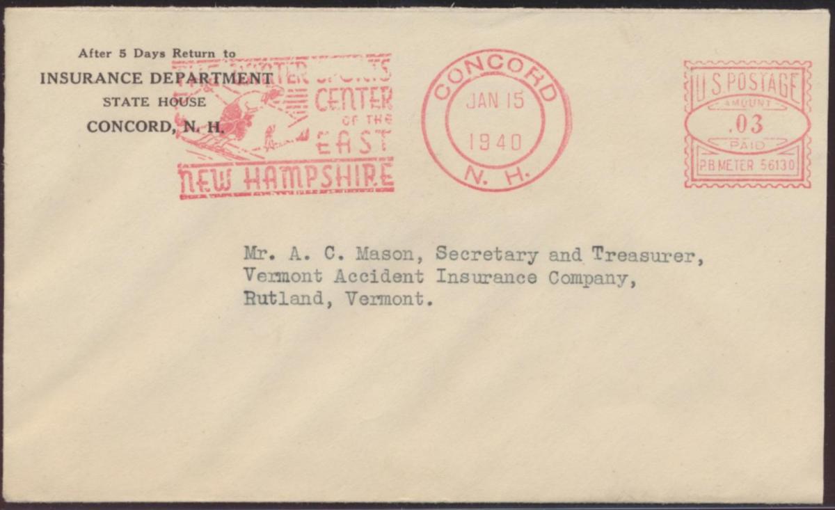 USA Brief Absenderfreistempel mit Motiv Wintersport Concord New Hampshire 1940