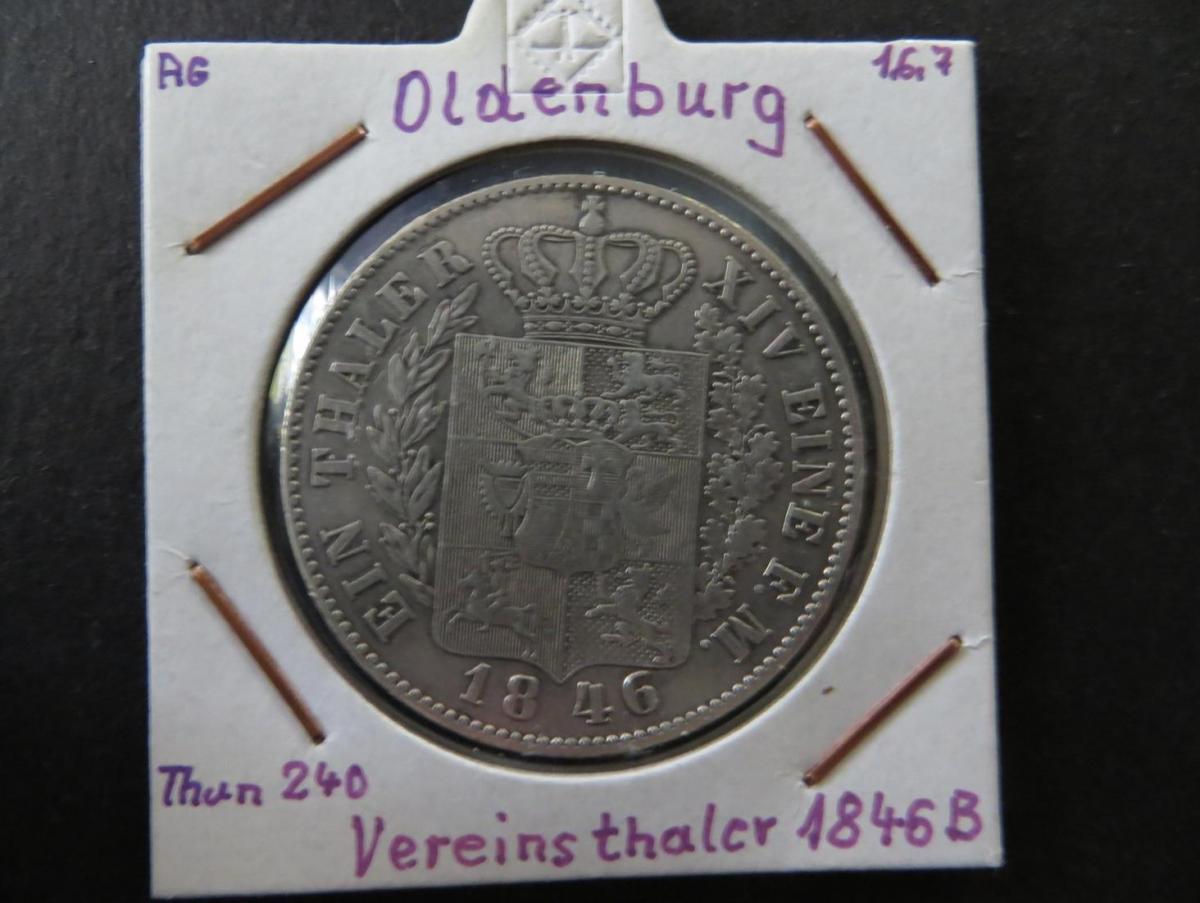 Münze Altdeutschland Oldenburg 1846 1. Vereinstaler Großherzog pF August ss-vz 0