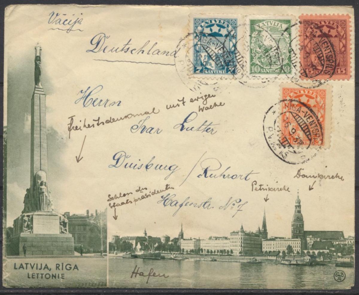 Lettland Brief beidseitig illustriert Bahnpost Riga Ventspils Duisburg Ruhrort