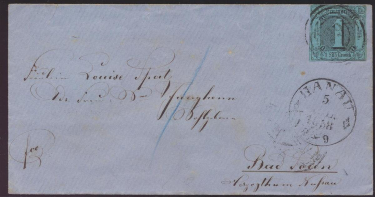 Thurn & Taxis Brief EF 4 mit Nrn.- Stempel 29 + K1 Hanau rs L2 Söden