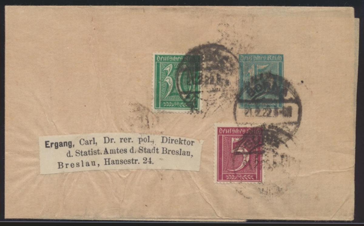 Reich Privatganzsache Streifband PS 16 E1 Abart Borna n. Breslau Infla geprüft